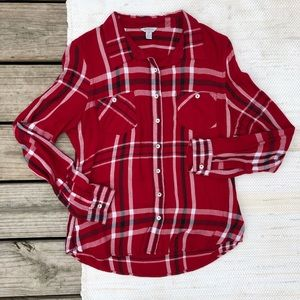 GUESS red white and black plaid button down shirt